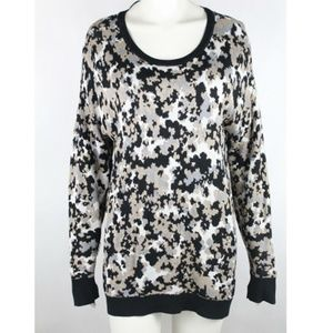 Kensie Pullover Sweater Size L Black Tan7 White
